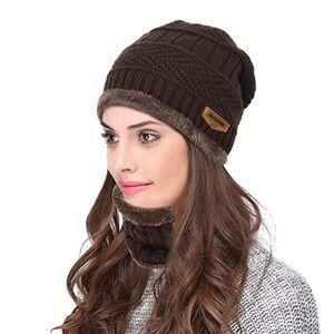 Winter Knit Skull Cap Beanie Hat with Neck Gaiterc